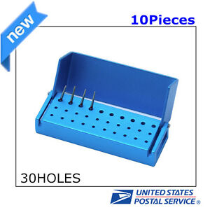 10pcs Aluminium Dental Bur Burs Holder Block Disinfection Box Autoclave 30 Holes