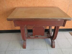 Vintage Porcelain Enamel Table With Extensions