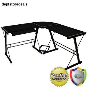 L shape Office Desk Set Computer Table Keyboard Cpu Stand Black Glass Top Safety