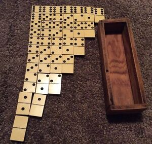 Vintage Layered Two Tone Black White Domino Game Bamboo Bone In Wooden Box