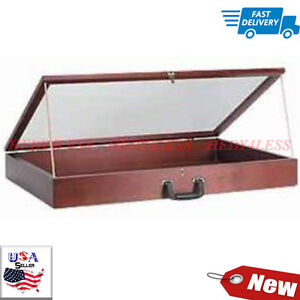 New Portable 36 Wood Countertop Display Cases Velvet Cherry 24 w X 36 l X 4 d