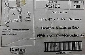 Carlon Two Gang Switch outlet Box A521de lot Of 10