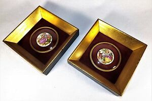 Pair Fragonard Porcelain Plaques Framed Hand Painted Transfer W Convex Glass Vg