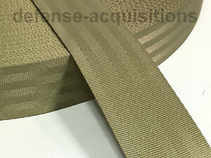 2 Inch 7 Panel 7 Bar Seat Belt Milspec Military Seatbelt Webbing Khaki Tan Yard