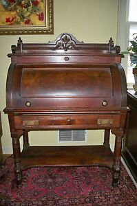 Antique Victorian Cylinder Roll Top Desk Walnut Walnut Burl W Pull Out Shelf