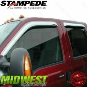 Stampede Chrome Front And Rear Window Visors Fits 07 17 Toyota Tundra Double Cab