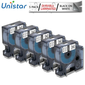 Compatible For Dymo 45013 D1 Label Tape Black On White Labelmanager 12mm 5pk