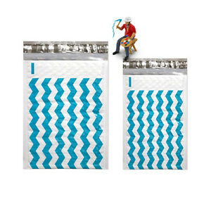 6 X 10 4 X 8 Teal Blue Chevron Poly Bubble Mailer Padded Shipping Envelopes