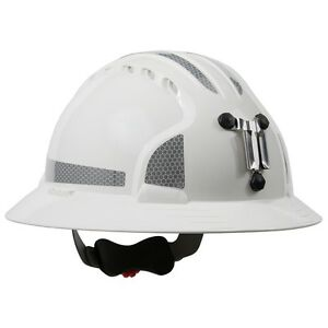 Jsp Full Brim Mining Hard Hat With 6 Point Ratchet Suspension White