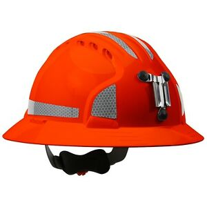 Jsp Full Brim Mining Hard Hat With 6 Point Ratchet Suspension Orange