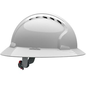 Jsp Vented Full Brim Hard Hat With 6 Point Ratchet Suspension White