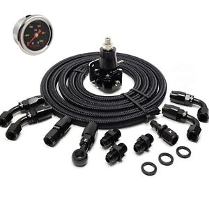 K Swap Fuel System Lines Kit 30 70 Psi An6 Fittings Gauge Regulator Hose