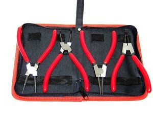 Heavy Duty 4pcs 7 Circlip Plier Snap Ring Plier External Internal With Pouch