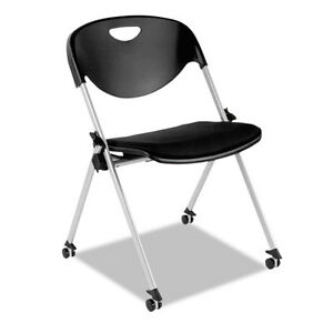 Sl Series Nesting Stack Chair With Casters Black 2 carton
