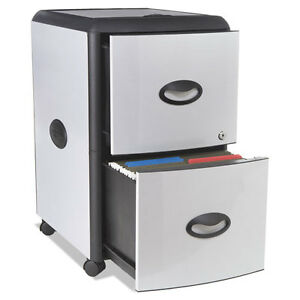Two drawer Mobile Filing Cabinet With Metal Siding 19 X 15 X 23 Silver black