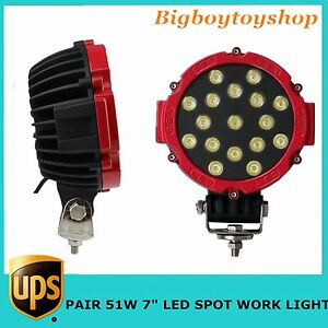 2x51w 7 Led Work Light Spot Red Round Offroad Fog Driving 4wd Boat Ute Atv Jeep