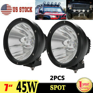 2x 7inch 45w Round Led Work Light Spot Driving Fog Lamp For Offroad Jeep Suv 4x4