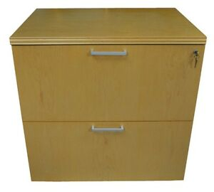 Two Drawer Lateral Filing Cabinet By Ofs W keys Solid Blonde Maple