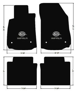 New Black Floor Mats 2014 2020 Chevy Impala Embroidered Double Logo 4pc Set