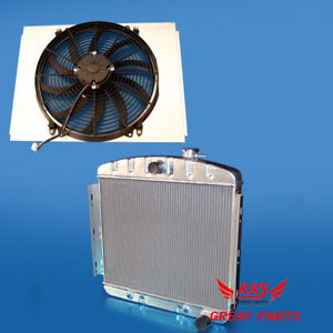 Kks Aluminum Radiator Shroud W 16 Fan 1955 1956 1957 Chevy Bel Air L6