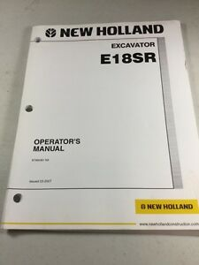 New Holland E18sr Excavator Operators Manual