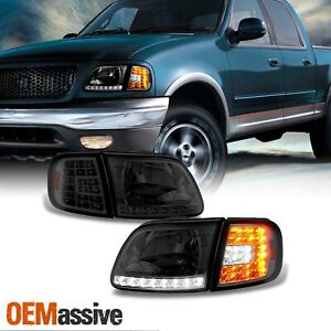 Fit Smoked 97 03 Ford F150 97 02 Expedition Headlights Led Corner Signal Lamp