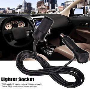 3m 12v Auto Vehicle Cigarette Lighter Socket Adapter Extension Cable Cord Black
