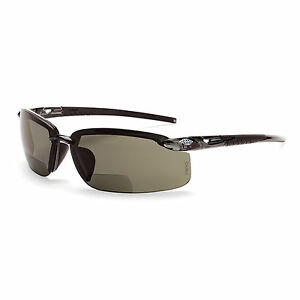 Crossfire Bifocal Safety Glasses With 1 5 Polarized Smoke Lens Black Frame
