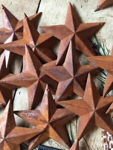 Lot Of 25 Rusty Barn Stars 3 5 In 3 1 2 Primitive Country 3d Rust Craft Supply