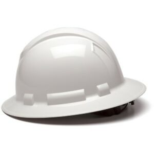 Pyramex Full Brim Hard Hat With 4 Point Ratchet Suspension White