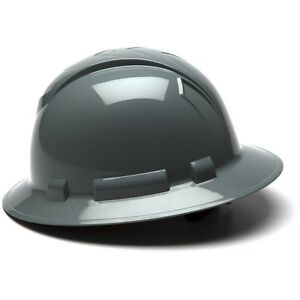 Pyramex Full Brim Hard Hat With 4 Point Ratchet Suspension Gray