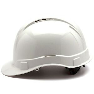 Pyramex Vented Cap Style Hard Hat With 4 Point Ratchet Suspension White
