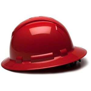 Pyramex Full Brim Hard Hat With 4 Point Ratchet Suspension Red