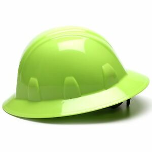 Pyramex Full Brim Hard Hat With 4 Point Ratchet Suspension Green
