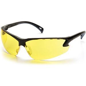 Pyramex Venture 3 Safety Glasses With Amber Lens Black Frame