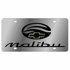 Stainless Steel Chevy Malibu Black Gold Bowtie Black License Plate Frame Novelty
