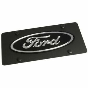 Stainless Steel Black Ford Black Mirror Logo License Plate Frame 3d Novelty Tag