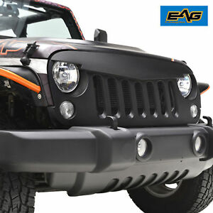 Eag 07 17 Jeep Wrangler Jk Grille Angry Birds Abs Front Hood Matte Black
