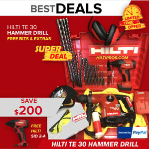 Hilti Te 30 Hammer Drill Preowned Free New Sid 2 a Drill Extras Quick Ship