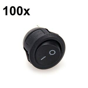 100x Black Round Rocker On off Switch 12v Dc Spst Circular Small Push Snap in