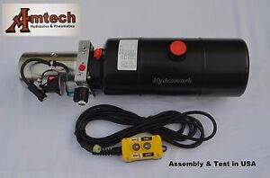 3208c Hydraulic Power Unit Hydraulic Pump 12v Single Acting 8qt Dump Trailer