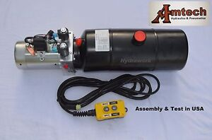 4208c Hydraulic Power Unit Hydraulic Pump 12v Double Acting 8qt Dump Trailer