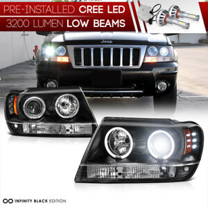 Led Low Beam 1999 2004 Jeep Grand Cherokee Wj Wg Angel Eye Projector Headlight