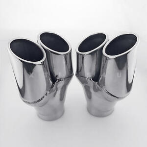 Pair 2 75 Inlet Dual 3 Staggered Round Outlet Stainless Steel Exhaust Tips