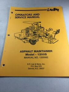 Leeboy Model 1200s Asphalt Maintainer Operators And Service Manual
