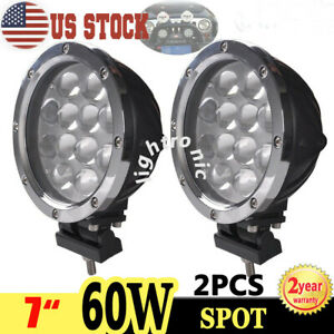2x 7inch 60w Round Led Work Lights Spot Driving For Offroad Jeep Truck 4wd Suv