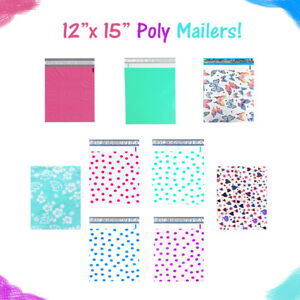 12 X 15 Designer Poly Mailers Pink teal Polka Dots hearts Flat Shipping Bags