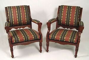 Pair Of Victorian Walnut Parlor Chairs With Contemporary Striped Upholstery