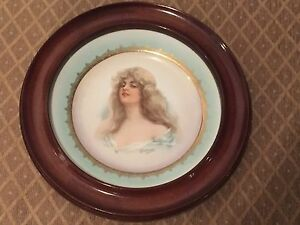 Constance Portrait Austria Habsburg China Plate Wood Framed