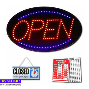 Red Horizontal Sliding Open closed Sign Board New Fast Shipping
